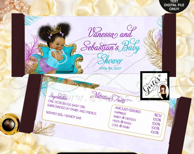 Candy wrappers baby shower, purple turquoise gold, afro puffs african american girl candy wrapper printable favors. 2-Per/Sheet  #TIAAPC001
