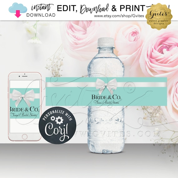Blue Water Bottle Label For Bridal/Baby Shower. Party Favor/Stickers/Bride & Co Theme. {Instant Download} Edit Yourself with Corjl Platform.
