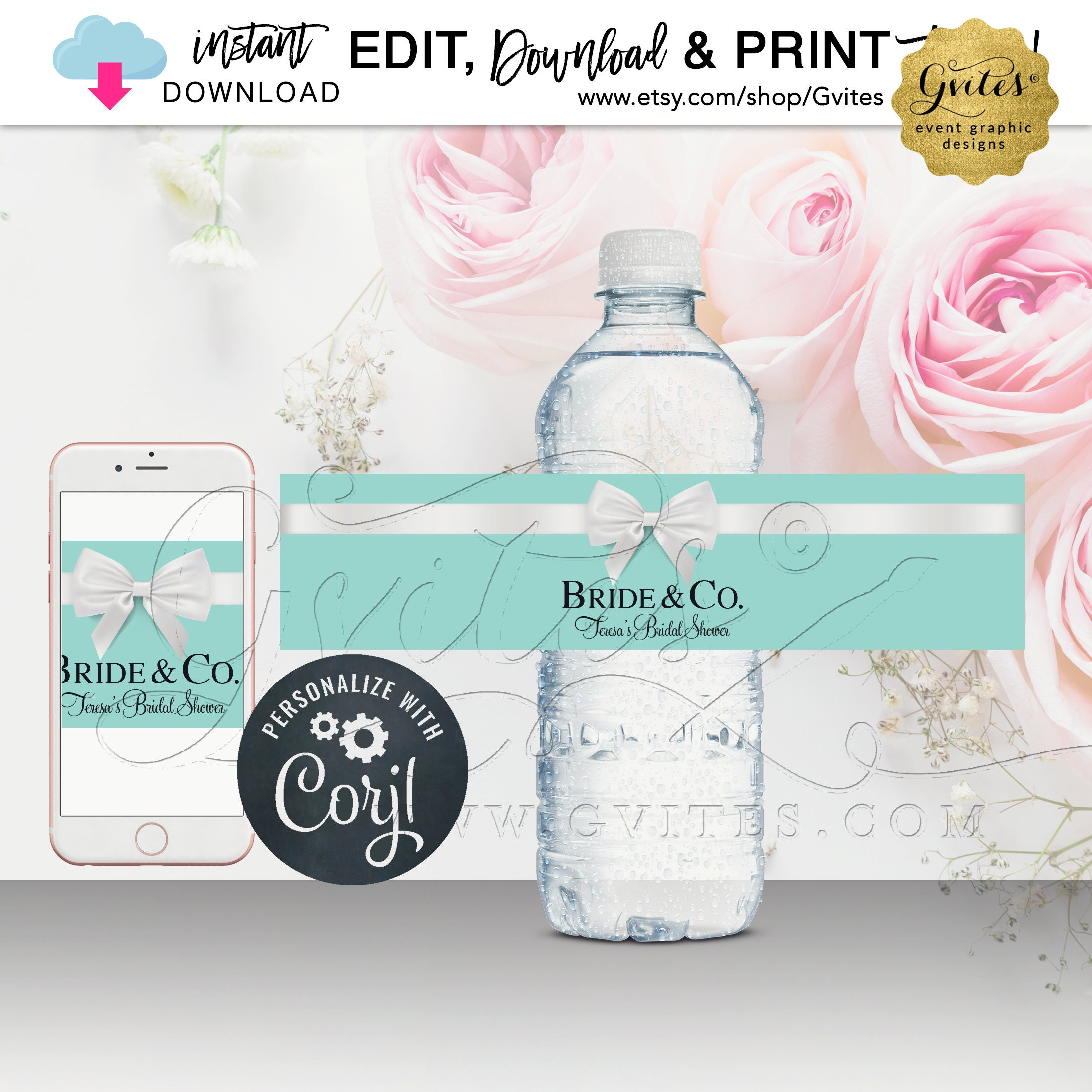 Blue Water Bottle Label For Bridal Baby Shower Party Favor Stickers Bride Co Theme Instant Download Edit Yourself With Corjl Platform