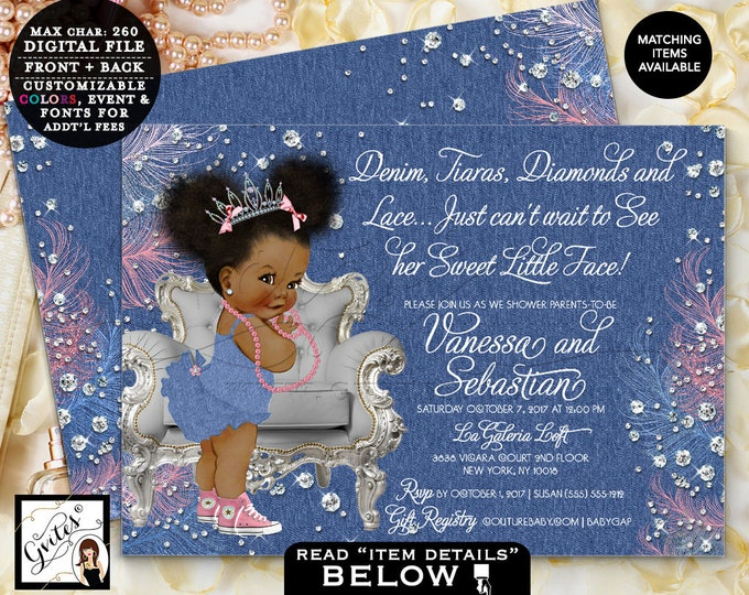 Princess Baby Shower Denim Tiaras Diamonds and Pearls, 7x5 Double Sided, Printable Digital File Only, Afro Puffs African American Gvites