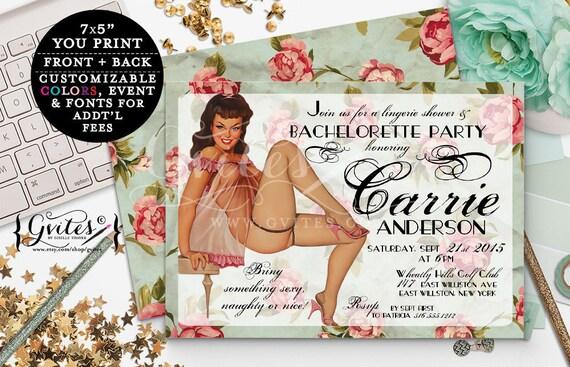 Retro Pin Up Girl Invitations, Vintage bridal shower Bachelorette Party, Girl invitation, 1950s, lingerie pinup girl invites, 7x5.