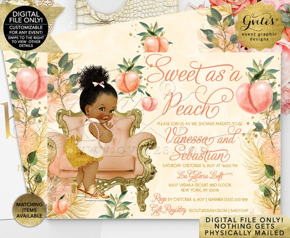 """Baby Shower Invites. African American. Sweet As A Peach Baby Shower. Coral Gold Foliage Printable Invitation 
