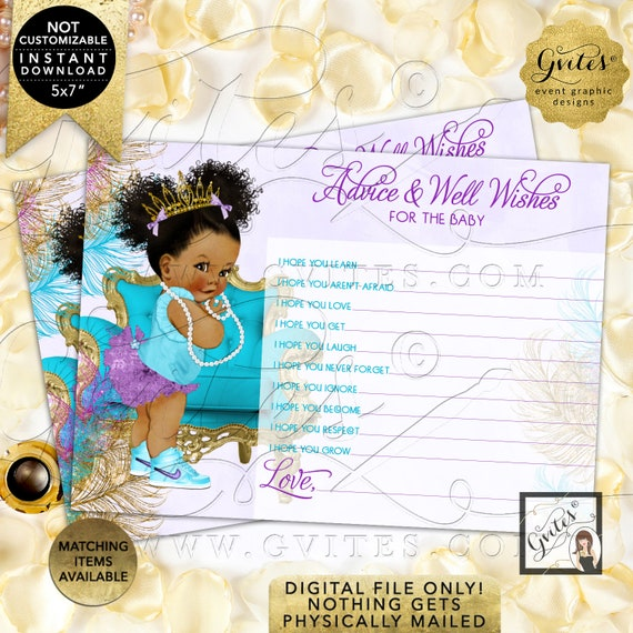 "Purple Gold Turquoise Lavender Advice for baby shower wishes | Dark/Puffs Curly | 7x5"" 2 Per Sheet {TIACH-105}"