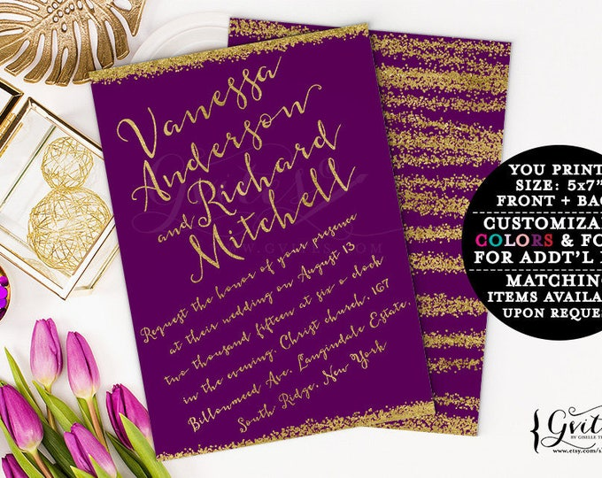 Purple & gold wedding invitations, printable wedding invites, plum eggplant customizable invitation, gold glitter glitz glam, couture.