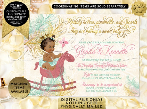 Mint Gold Pink Baby Shower Invitation | Princess on Horse Pinwheels/ Diamonds & Pearls/ Ribbon and Bow| Printable/Digital JPG/ PDF CWCHS-123