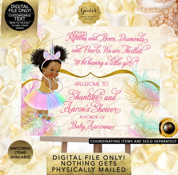 Welcome Unicorn Princess Baby Shower Sign | African American Girl Ballet Shoe Rainbow Colors | Printable Digital File | JPG + PDF Format.