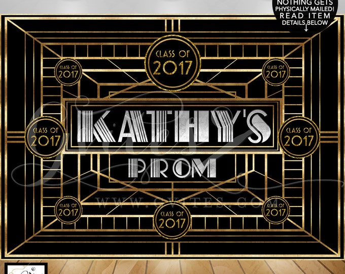 The Great Gatsby backdrop, 1920s grad party wall photo poster, great gatsby theme party banner, backdrops, college ball, prom, PRINTABLE.