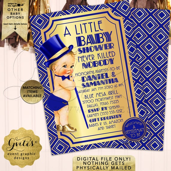 "Royal Blue & Gold Gatsby A Little Baby Shower Invitations | Gentleman Vintage/1920s themed | Boy Printable Party Invites 5x7"" Double Sided"