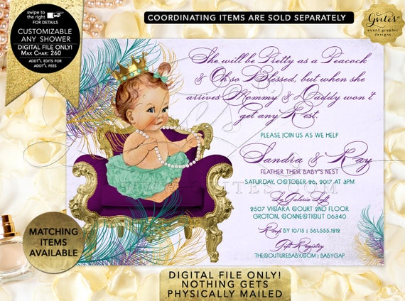Peacock baby shower invitation purple lavender gold teal green princess | Printable Digital PDF + JPG Format | By Gvites