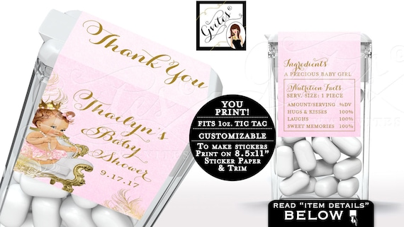 Tic Tac Labels Baby Shower Candy Wrapper Printable Thank you Gifts, Party Favors Princess Vintage {White/Gold Feathers}   Design: CWCHS-104