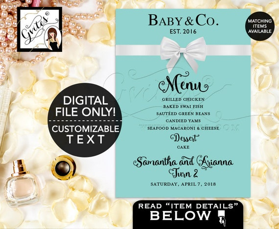 Baby and Co Menu Printable/ Birthday Baby Menu Cards/ Breakfast at and Co Party Themed/ BABY GIRL. Digital DIY/ 5x7/ Gvites.