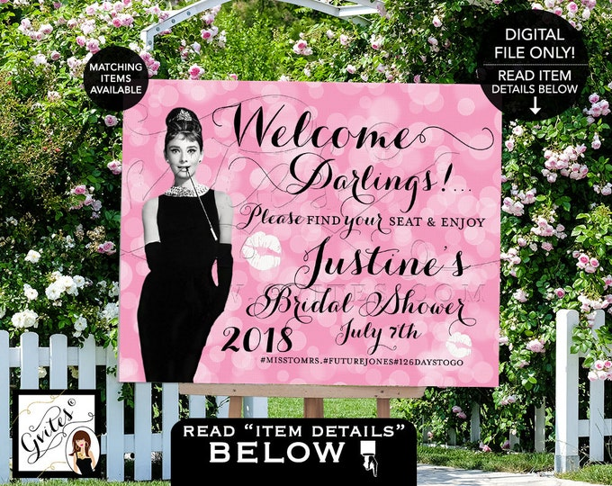 Welcome Sign Bridal Shower, Pink and Black, Breakfast at Audrey Hepburn, Wedding Decorations, Signs, Table Backdrop, Printable, Gvites