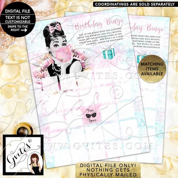 "Birthday Bingo Game, Breakfast at Tiffanys Audrey Hepburn Caucasian Digital File! PDF + JPG, 5x7""/2 Per Sheet {Instant Download}"