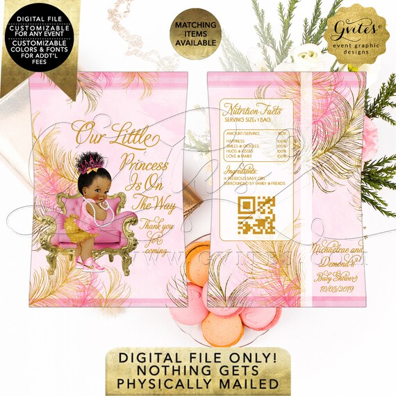 Chip Bag Printable Gold & Pink Baby Shower Vintage Afro Puff Baby Girl. Digital File Only! Customizable Any Event!