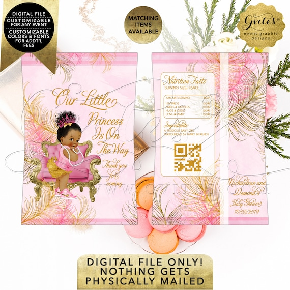 5.25 x 5.75 2 Per Sheet TIACE-104 Pink and Gold Candy Bar Wrappers Baby Shower African American Princess Gold Feathers Ivory Design