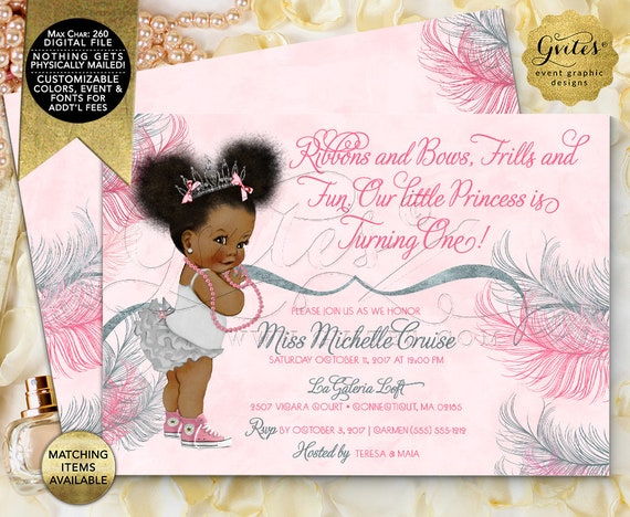 Pink Silver Princess Birthday Invitations Afro Puffs Vintage African American Baby Girl. Double Sided, Digital File! 7x5"