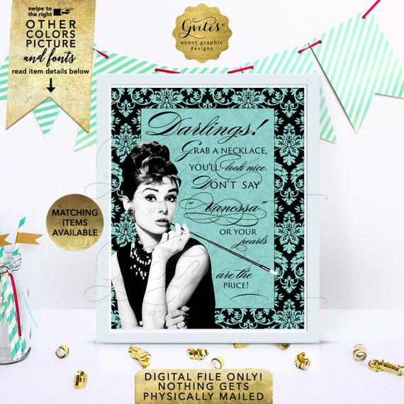 Personalized Bride's Name Grab a necklace game sign/ Audrey Hepburn theme/ turquoise blue/ breakfast at bridal shower games/ 8x10