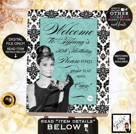 Welcome Birthday Signs/ breakfast at blue and co themed/ Audrey Hepburn party supplies/ 30th birthday Printable Digital File Only! Gvites