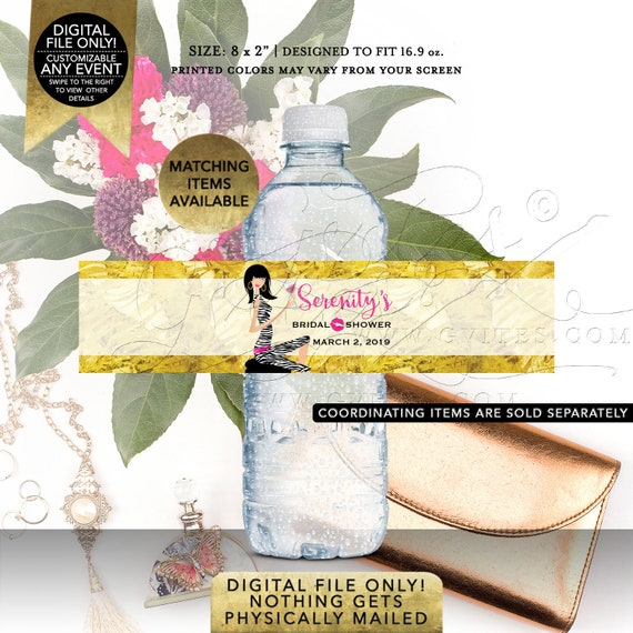 "Pink and Gold Water Bottle Labels For Bridal Shower | Printable Digital JPG + PDF 8x2""/5 Per Sheet 