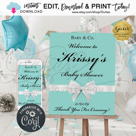 "Baby and Co Welcome signs Baby Shower | Breakfast Theme |  EDIT YOURSELF {Includes: 11x14"" + 16x20"" & 22x28""}"