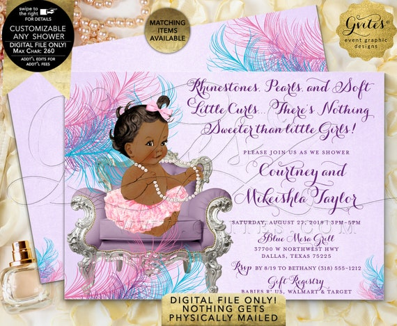 Pink Lavender Turquoise Blue Baby Shower Invitations | Digital File Only! JPG + PDF Format | By Gvites | Design: BSCNR-101