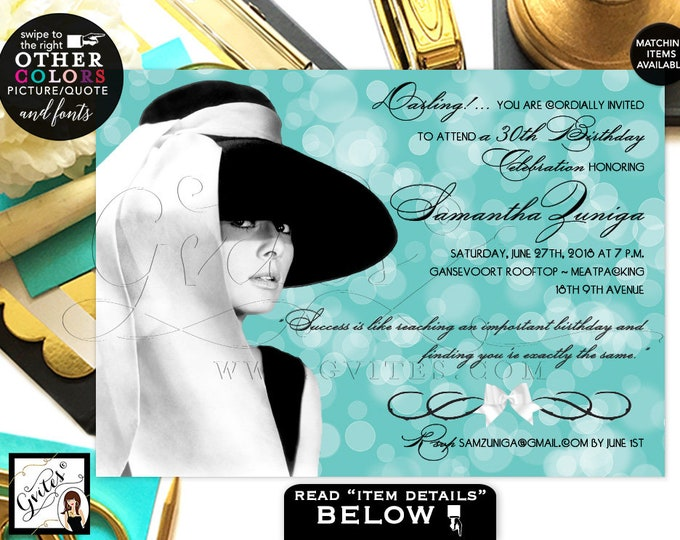Audrey Hepburn 30th birthday invitations, Audrey inspired party printable invitation, turquoise blue theme, digital invites, Gvites