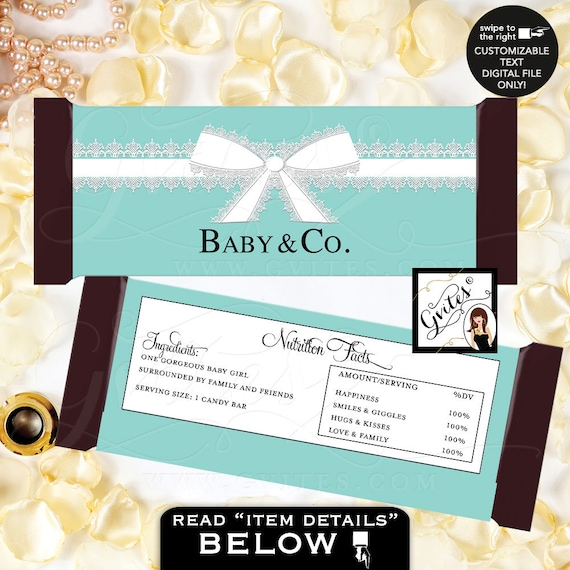 Baby & Co Blue Theme Candy Bar Wrapper bar chocolate label party printable/ JPG + PDF Customizable Text