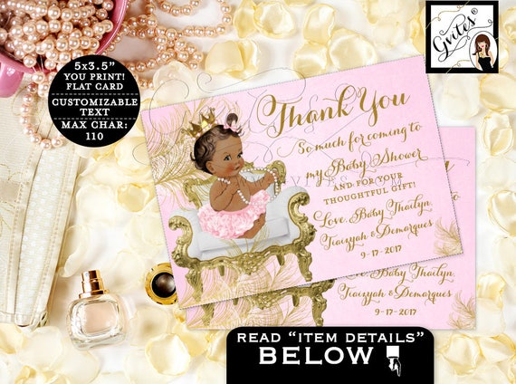 "Thank You Cards Pink & Gold Baby Shower | Princess African American 5x3.5"" 4 Per/Sheet {White/Gold Feathers} CWCHS-104"