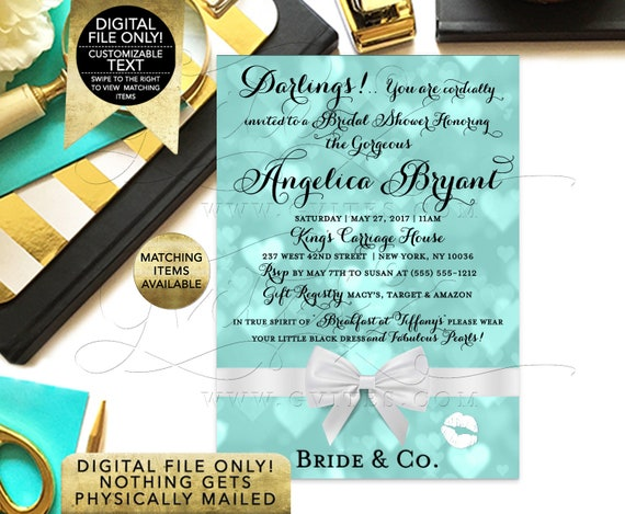 "Bride and Co Invitation Bridal Shower Blue Printable Invitations, Customizable Text, 5x7"" DIY, Digital File Only!"