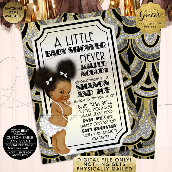 Gatsby Girl African American Afro Puffs Baby Shower Invitations | White Gold Vintage/1920s themed | Girl Printable Party Invites 5x7 Gvites