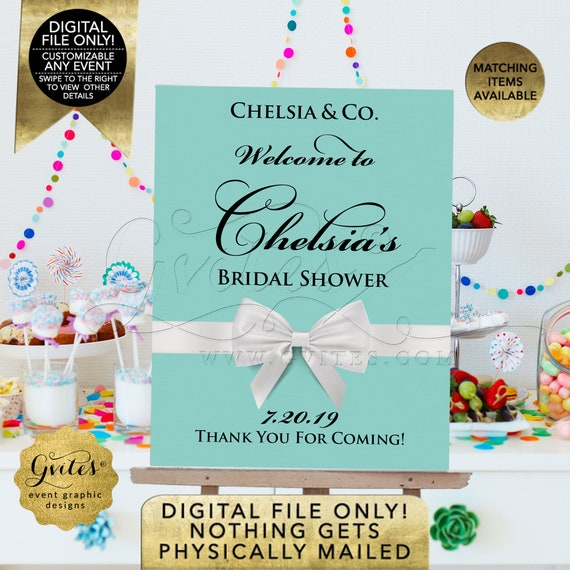 Bridal Shower Welcome Sign | Breakfast at Name & Co Blue Themed Decorations | Printable JPG + PDF