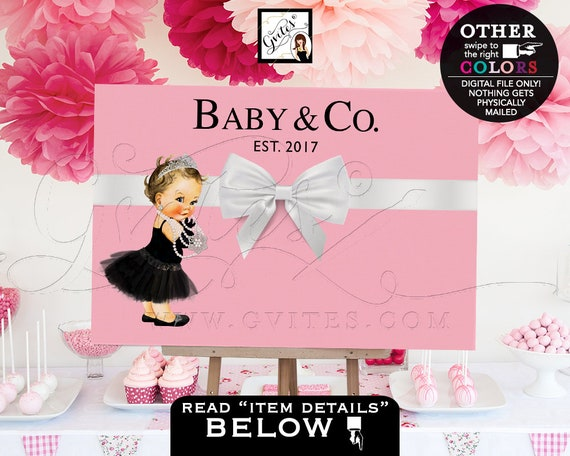 Baby and Co Backdrops Baby Shower Poster Signs, Entrance Decoration, Decor Breakfast at, White and Pink, DIY, Digital, Printable, Gvites.