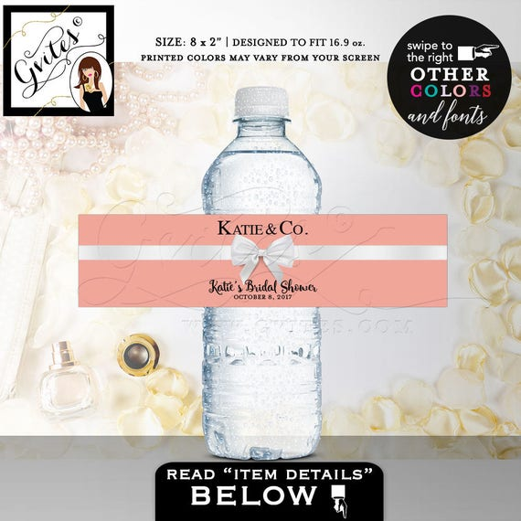 Water Bottle Labels Bridal Shower / Peach & White Bridesmaid Labels stickers / Wedding Party favors Blush Pink bottle wrappers / 5 Per Sheet