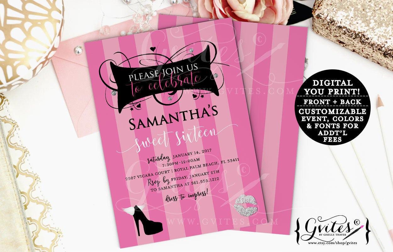 pink and silver sweet 16 birthday invitations designer invites