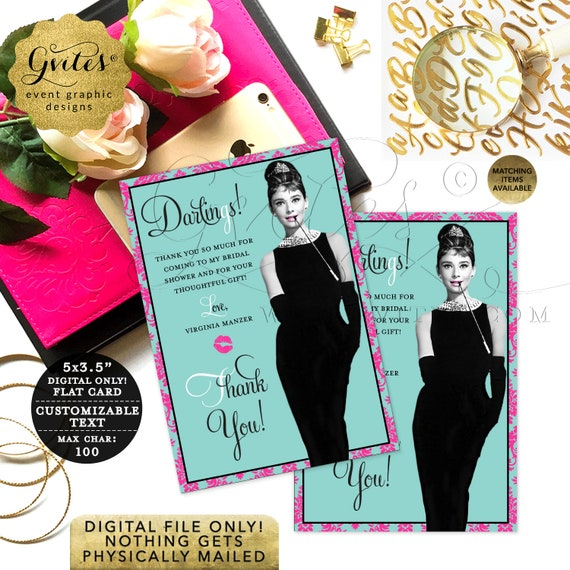"""Audrey Thank You Cards. Pink Turquoise Greeting Notes. Bridal Shower Hepburn/Customizable Any Event. JPG + PDF 3.5x5"""" 4/ Per Sheet"""
