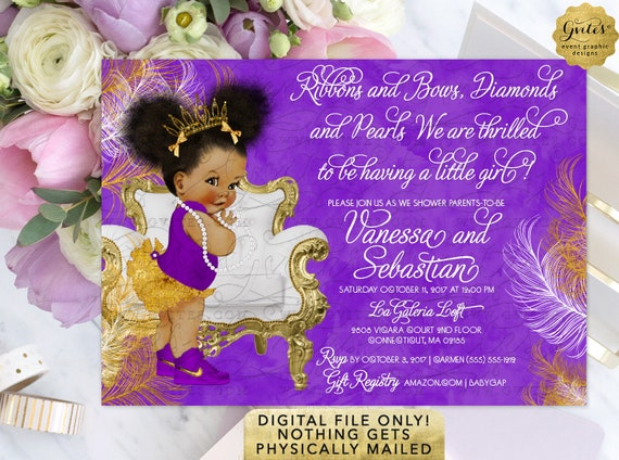 "Purple White Gold Afro Puffs Baby Shower Invitation | Digital File JPG + PDF 7x5"" By Gvites"