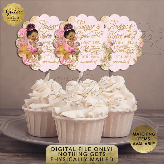"Cupcake Toppers Custom/ Sugar & Spice and Everything Nice Decorations Dessert Table | 2.5x2.5""/ 9 Per Sheet {Avery® 08218}"