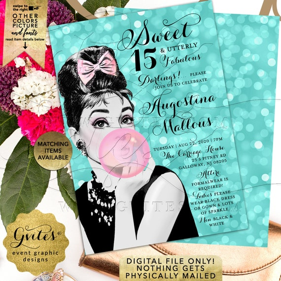 "15th Birthday Teen Invitation Audrey Pink Bubble Gum/Breakfast Quinceanera Fabulous Party. Blue/Diamonds Pearls. JPG + PDF 5x7"" Double Sided"