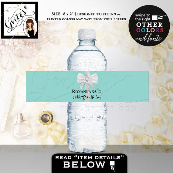 "30th Birthday Water Bottle Labels breakfast at decorations {8x2"" 5 Per Sheet} 
