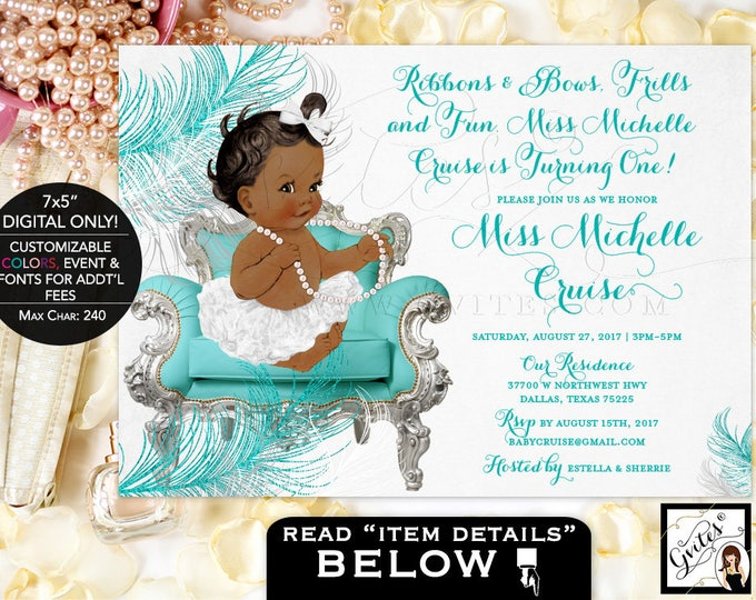 """White Blue silver and white invitation, FIRST BIRTHDAY african american baby girl, teal and white digital invites, 7x5"""" Gvites"""