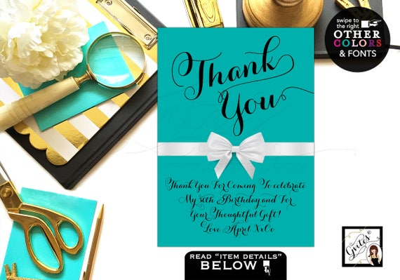 Thank You Sign Breakfast at Bridal Shower Audrey Hepburn Theme/ Printable Decorations Turquoise Blue 4x6/ 5x7 & 8x10