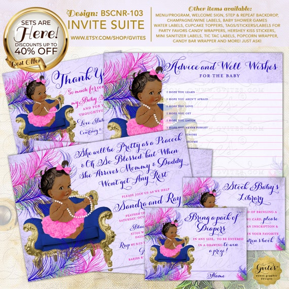 Peacock Baby Shower Invitation SET 5 Piece-Suite Printable | Design: BSCNR-103 By Gvites