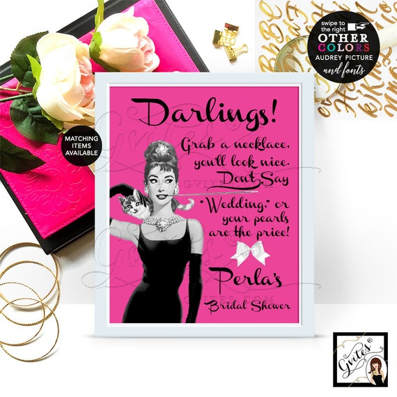 """Bridal Shower Pearl Necklace Game Sign, Audrey Hepburn PERSONALIZED Pearl Necklace game, CUSTOMIZABLE picture, colors & fonts 8x10"""""""
