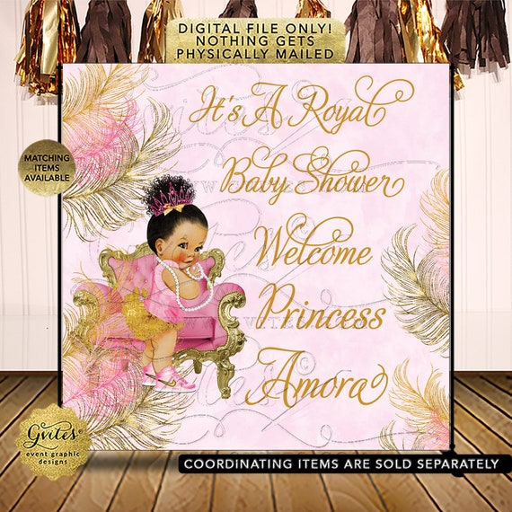 Pink & Gold Baby Shower Photo Backdrop Decorations / Afro Bun Puffs Curly Vintage Girl Baby Shower / Digital File JPG + PDF