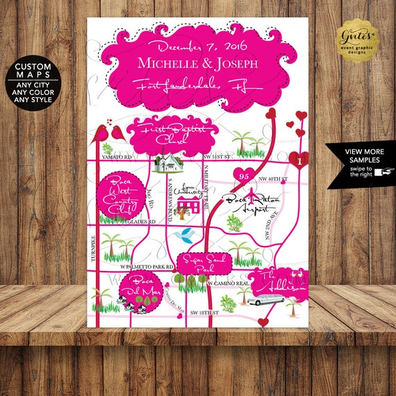 Wedding Maps For Guests - Victoria Secret Themed Inspired -Pink and Red - Love Birds and Hearts - Digital File Only!