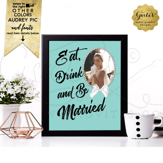 Personalized Bridal Shower Signage Audrey Hepburn Party | Digital File JPG + PDF | 8x10 by Gvites
