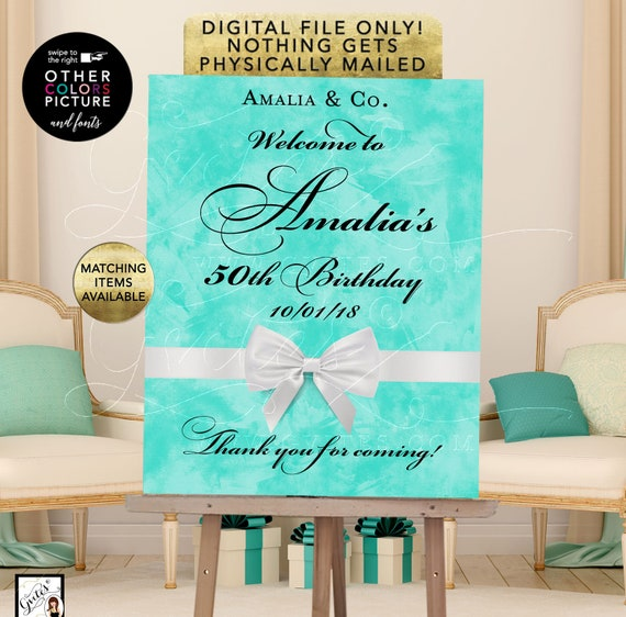 Welcome 50th Birthday Sign, printable poster banner, breakfast at blue