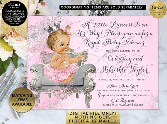 Pink and Silver Baby Shower Princess Ribbons Bows Diamonds Girl | Digital/Printable JPG + PDF {Design: CWCHS-103} By Gvites
