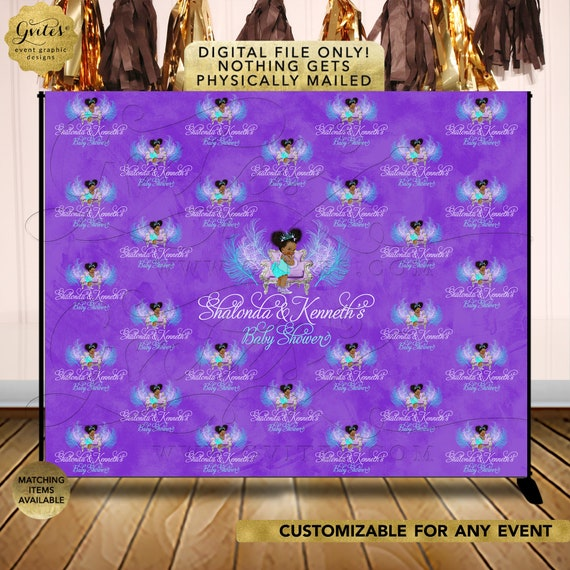 Aqua and Lavender Backdrop For Photos. Vintage African American Princess. Purple Lilac Light Blue. Printable File Only!