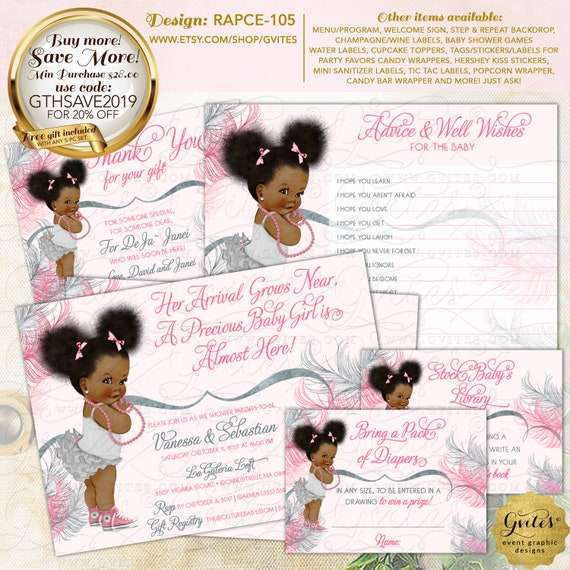 Blush Pink & Silver Baby Shower / Afro Puffs Vintage Pink Princess Party Printable | Design: RAPCE-105 By Gvites